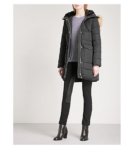 WAREHOUSE Fitted quilted coat (Black