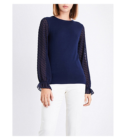 WAREHOUSE Chiffon-sleeve knitted top (Navy