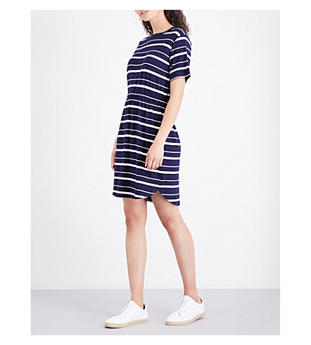 WAREHOUSE Striped stretch-jersey dress (Blue