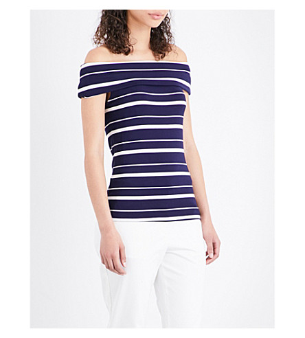 WAREHOUSE Off-the-shoulder jersey top (Blue