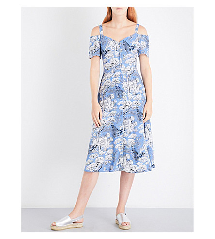 WAREHOUSE Tiger button-through dress (Blue