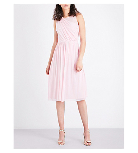 WAREHOUSE Fit-and-flare mesh dress (Bright+pink