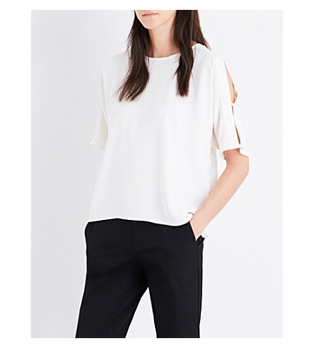 WAREHOUSE Tie-back crepe top (Cream