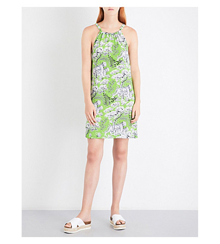 WAREHOUSE Tiger print woven halterneck dress (Green