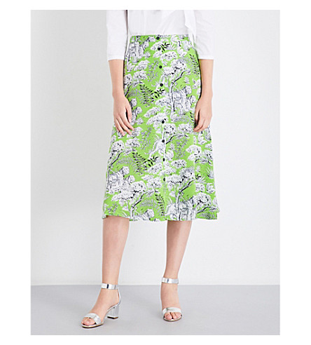 WAREHOUSE Tiger-print woven midi skirt (Green