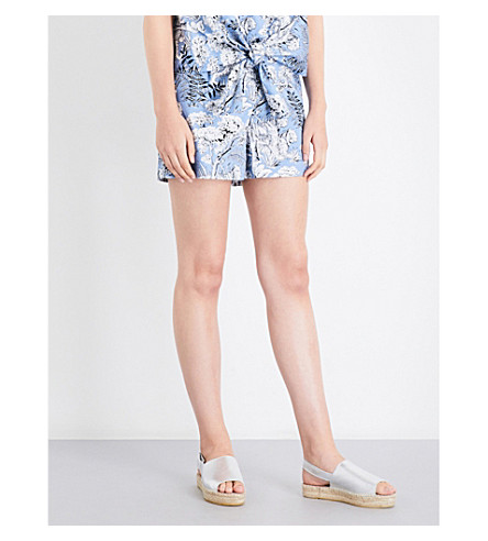 WAREHOUSE Tiger-print cotton short (Blue