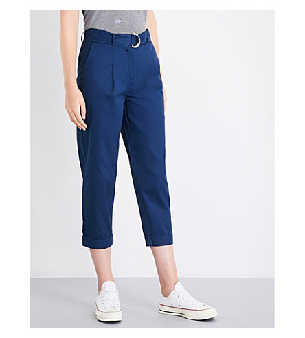 WAREHOUSE Pleated cotton-twill trousers (Navy