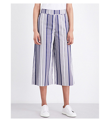WAREHOUSE Striped high-rise cotton culottes (Navy
