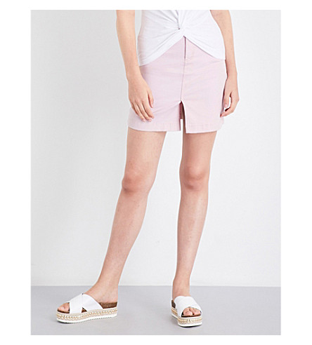 WAREHOUSE Split front denim skirt (Pale+pink