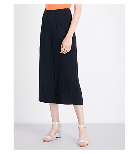 WAREHOUSE Pintuck woven culottes (Black
