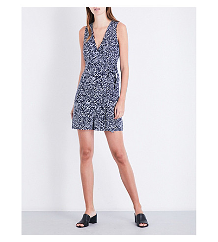 WAREHOUSE Geometric-print wrap-over playsuit (None