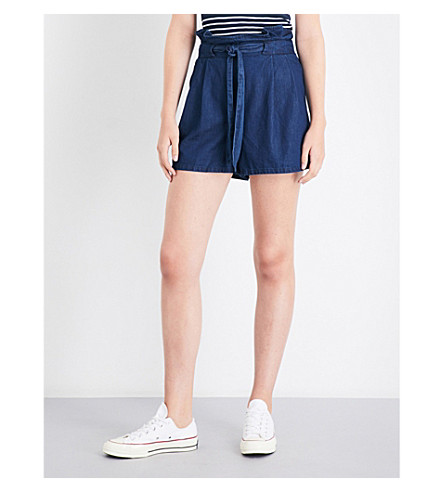 WAREHOUSE Tie-front denim shorts (Blue