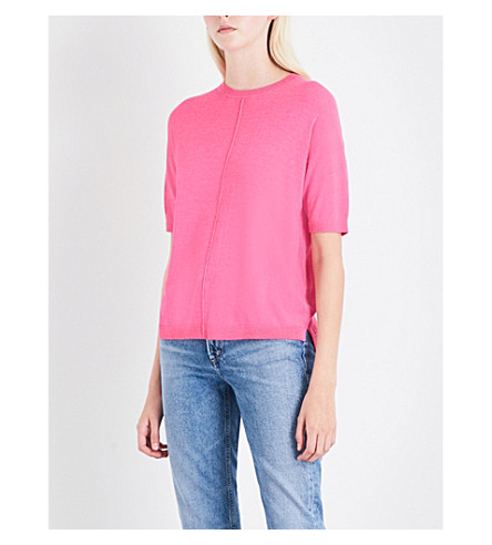 WAREHOUSE Boxy cotton-blend top (Bright+pink