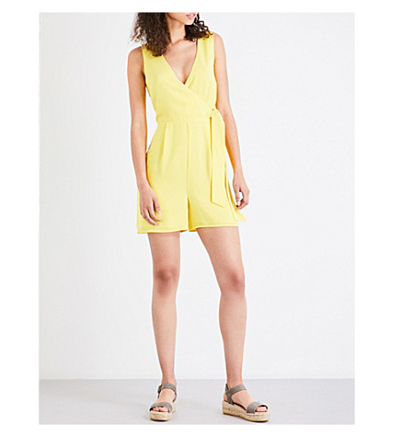 WAREHOUSE Cross-front crepe playsuit (Yellow
