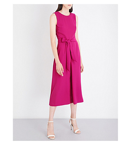 WAREHOUSE Open back crepe culotte jumpsuit (Bright+pink