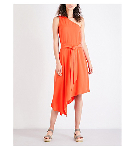 WAREHOUSE Asymmetric crepe dress (Bright+orange