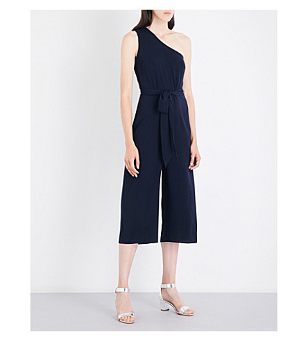 WAREHOUSE One-shoulder crepe jumpsuit (Navy