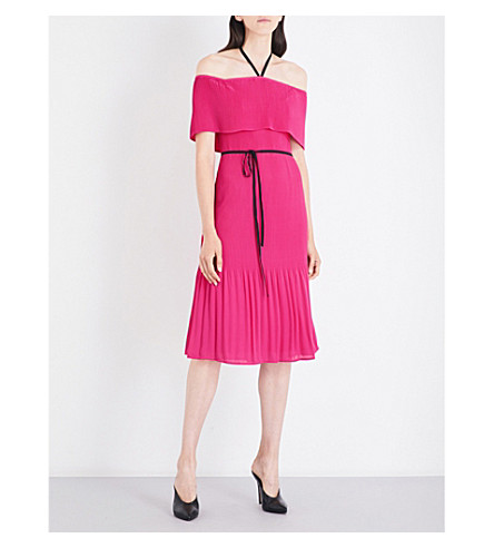 WAREHOUSE Off-shoulder tie-neck crepe dress (Bright+pink