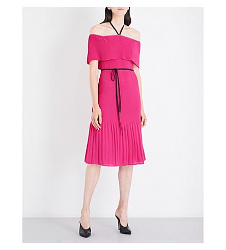 WAREHOUSE Off-shoulder tie-neck crepe dress (Bright+pink