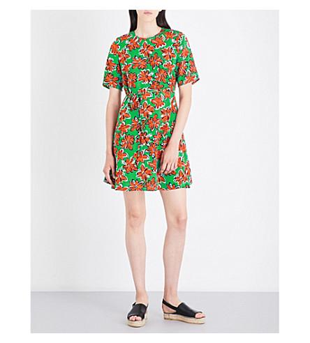 WAREHOUSE Woodblock Daisy Flippy crepe dress (Green