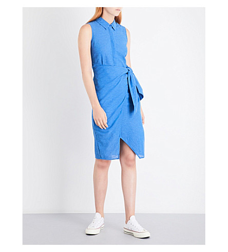 WAREHOUSE Tie-side cotton and linen-blend shirt dress (Blue