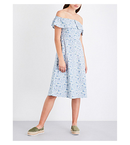 WAREHOUSE Ditsy-print off-the-shoulder cotton dress (Blue