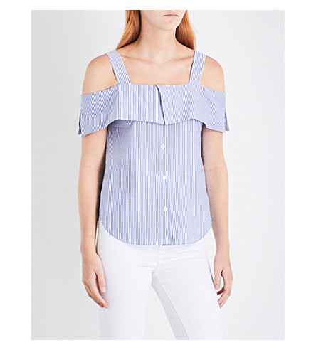 WAREHOUSE Button-through stripe cotton top (Blue