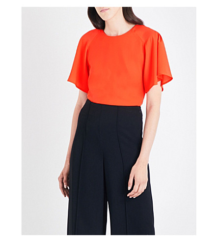 WAREHOUSE Pleated-sleeve crepe top (Bright+orange