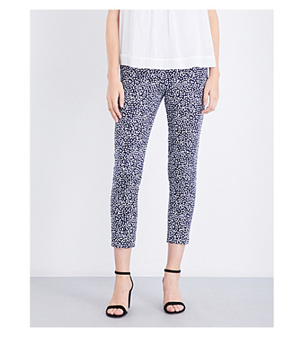 WAREHOUSE Printed cotton-blend trousers (None