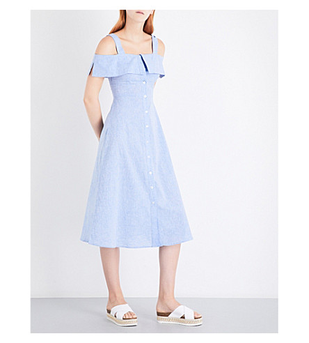 WAREHOUSE Chambray button through cotton dress (Pale+blue