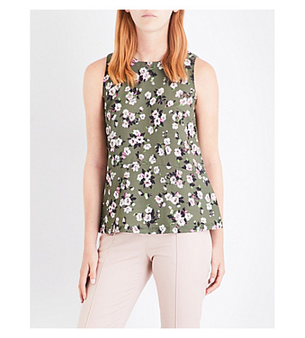 WAREHOUSE Mae floral-print crepe and jersey top (Green