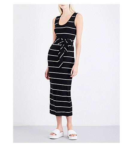 WAREHOUSE Tie-front striped jersey maxi dress (Black