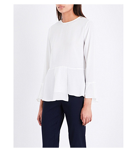 WAREHOUSE Peplum crepe top (Cream