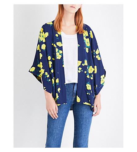 WAREHOUSE Floral print kimono (Navy