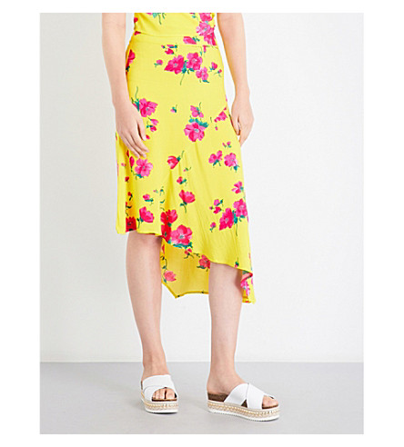 WAREHOUSE Delia flower woven asymmetric skirt (Yellow