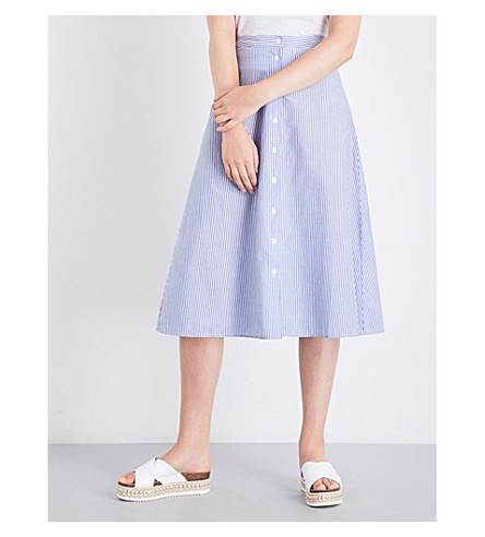 WAREHOUSE Stripe button through skirt (Blue