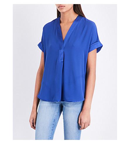 WAREHOUSE V-neck satin top (Blue