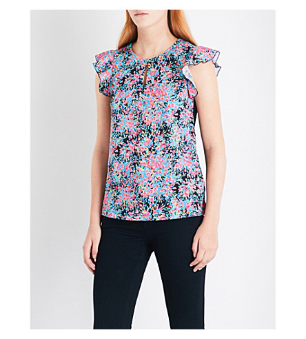 WAREHOUSE Flower burst woven front top (None