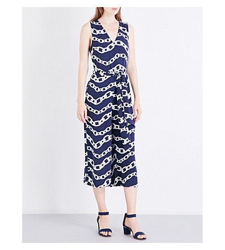 WAREHOUSE Chain-print jumpsuit (Navy