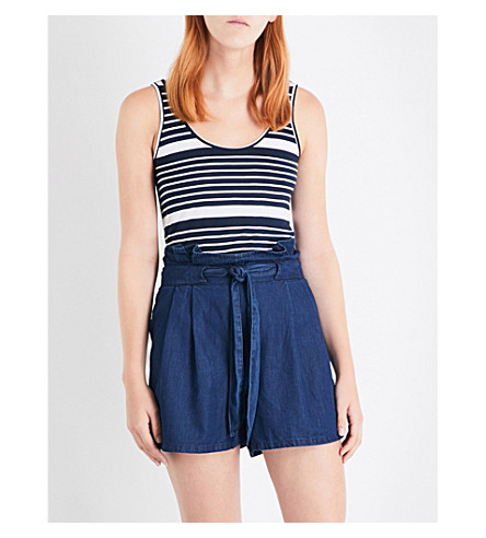 WAREHOUSE Stripe swing jersey vest (Blue