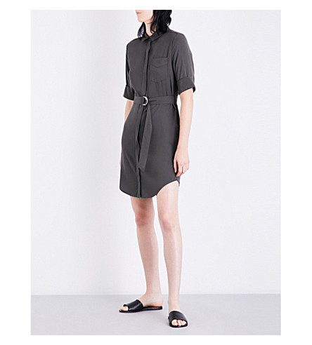 WAREHOUSE Belted twill shirt dress (Khaki