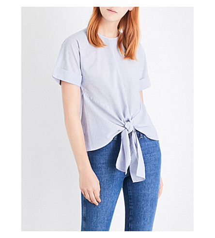 WAREHOUSE Stripe tie front cotton top (Blue