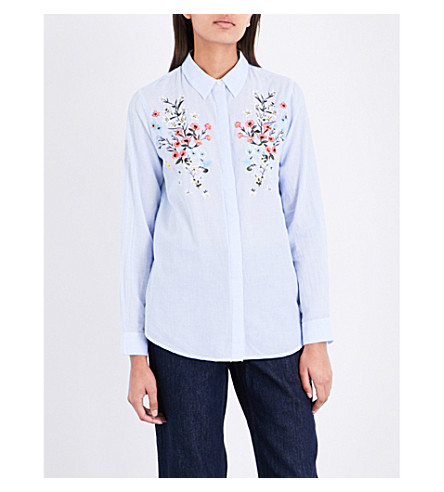 WAREHOUSE Flower-embroidered striped cotton shirt (Blue