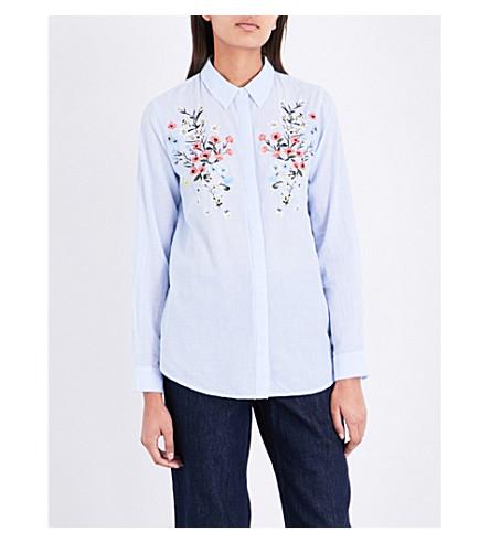 WAREHOUSE 花绣条纹棉质衬衫 (蓝色