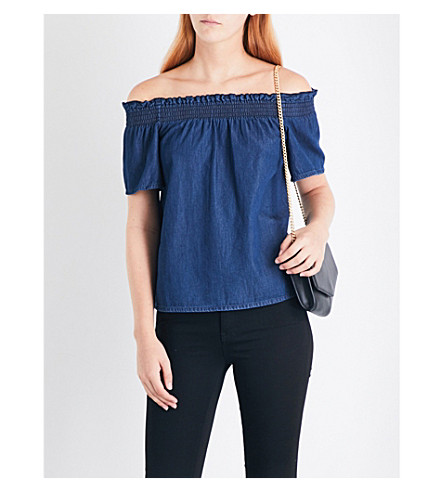 WAREHOUSE Off-the-shoulder denim top (Blue