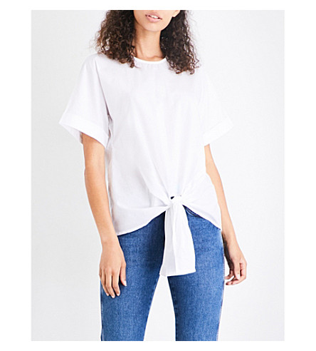 WAREHOUSE Tie front cotton-poplin top (White