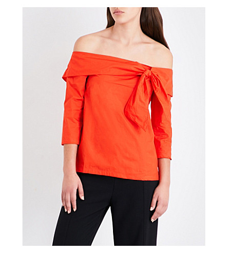WAREHOUSE Tie-front off-the-shoulder cotton top (Red