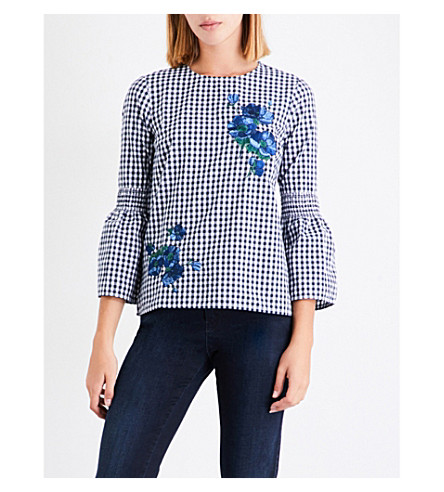 WAREHOUSE Delia floral-embroidered cotton-poplin top (Navy