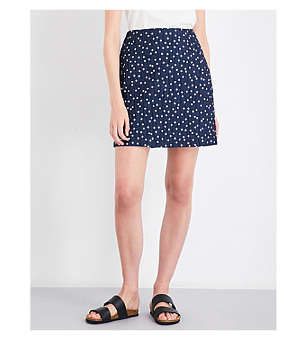 WAREHOUSE Spot-print woven skirt (Blue