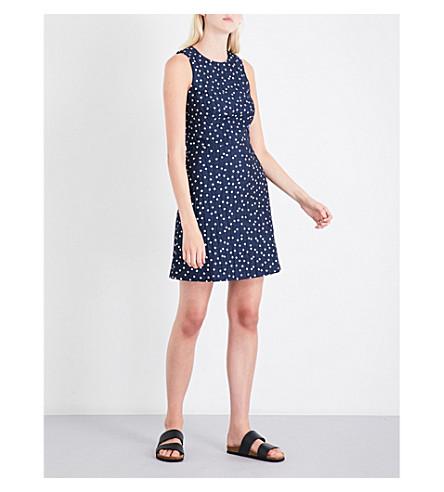 WAREHOUSE Spot-print woven dress (Blue